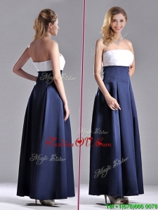 Elegant Strapless Ankle Length 2016 Dama Dresses in Navy Blue and White
