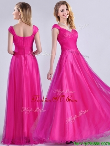 Exclusive Organza Beaded Top Hot Pink2016 Dama Dresses with Cap Sleeves