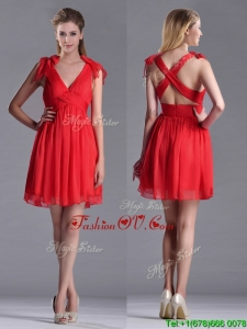 Exclusive V Neck Criss Cross 2016 Dama Dresses with Ruching and Bowknot