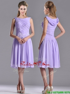 Lovely Empire Chiffon Lavender 2016 Dama Dresses with Beading and Ruching