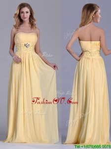 Lovely Empire Yellow Long 2016 Dama Dresses with Beading and Ruching