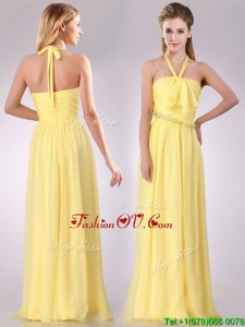 Lovely Halter Top Chiffon Ruched Long 2016 Dama Dresses in Yellow