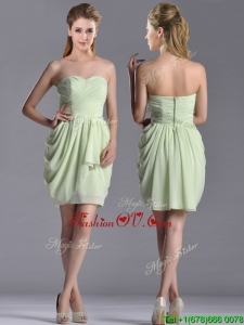 Popular Ruched Decorated Bodice Short 2016 Dama Dresses in Yellow Green