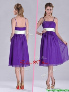 Romantic Spaghetti Straps Belted Eggplant Purple 2016 Dama Dresses in Tea Length
