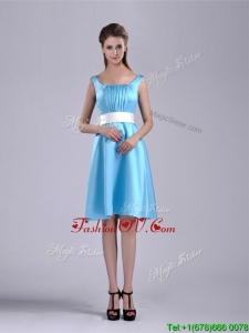 Simple Belted and Ruched Aqua Blue2016 Dama Dresses in Knee Length