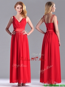 The Super Hot Empire V Neck Red 2016 Dama Dresses in Ankle Length