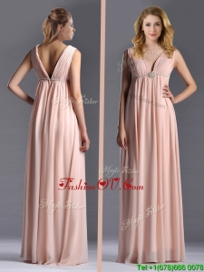 Top Selling Empire Chiffon Ruching Long Pink Mother Dress with V Neck