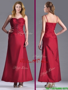 Top Selling Spaghetti Straps Wine Red Mother Dress with Beading and Ruching
