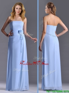 Cheap Strapless Hand Crafted Flower Long 2016 Dama Dressesin Light Blue