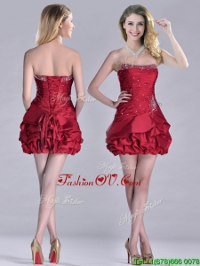Classical Taffeta Wine Red Short Unique Prom Dresses with Beading and Bubbles