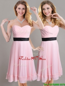 Discount Empire Pleated and Black Belted2016 Dama Dresses in Baby Pink