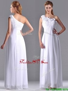 Elegant Empire Hand Crafted Side Zipper White 2016 Dama Dresses with One Shoulder