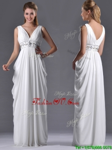 Elegant Empire V Neck Chiffon White 2016 Dama Dresses for Graduation