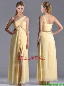 Exquisite One Shoulder Yellow Unique Prom Dresses with Beading and High Slit