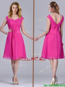 Hot Pink Empire Knee-length Chiffon Ruching Short 2016 Dama Dresses for Graduation