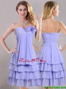 Hot Sale Ruffled Layers and Handcrafted Flower 2016 Dama Dresses in Lavender