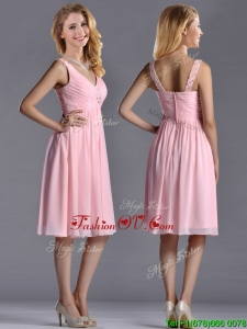 Lovely Empire V Neck Baby Pink Short 2016 Dama Dresses with Beading