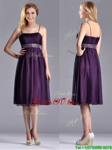 Modest Spaghetti Straps Beaded Chiffon Short 2016 Dama Dresses in Purple