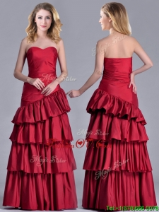 Modest Taffeta A Line Wine Red Unique Prom Dresses with Ruffled Layers