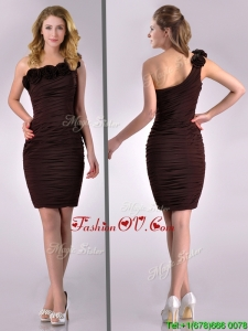 Simple Column One Shoulder Hand Crafted and Ruched Side Zipper Short 2016 Dama Dresses in Brown