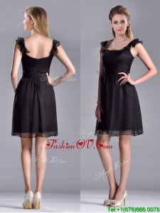 Simple Empire Square Chiffon Black Unique Prom Dresses with Cap Sleeves