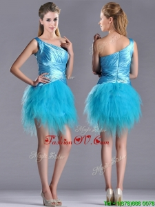 Wonderful One Shoulder Ruched and Ruffled Aqua Blue Unique Prom Dresses in Tulle