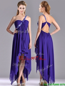 Cheap High Low One Shoulder Criss Cross Unique Prom Dresses with Beading