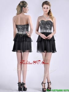 Cheap Sweetheart Black Short Unique Prom Dresses in Sequins and Chiffon