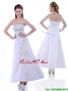 Elegant Ankle Length White Unique Prom Dresses with Embroidery and Beading