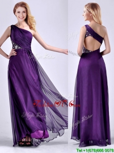 Elegant One Shoulder Criss Cross Purple Unique Prom Dresses with Beading