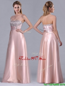 Fashionable Strapless Peach Long Unique Prom Dresses with Beaded Bodice