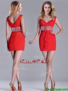 Hot Sale Beaded Decorated Waist V Neck Unique Prom Dresses in Red