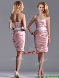 Lovely Column Peach Unique Prom Dresses with Ruching and White Belt