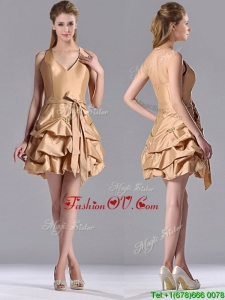 Most Popular Halter Top ChampagneUnique Prom Dresses with Bubbles and Bowknot