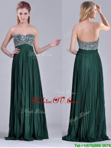Popular Brush Train Beaded Bust and Pleated Unique Prom Dresses in Hunter Green