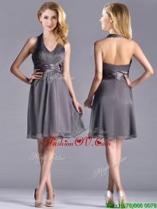 Romantic Chiffon Halter Top Knee LengthUnique Prom Dresses in Grey
