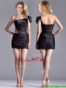 Sexy Column Ruched One Shoulder Black Unique Prom Dresses in Taffeta