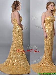 2016 Luxurious Column Strapless Sequined Gold Prom Dress with Brush Train