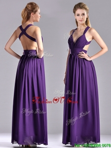 2016 Sexy Purple Criss Cross Prom Dress with Ruched Decorated Bust