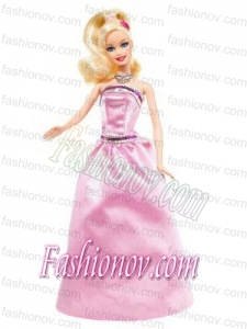 Beading Pink Princess Party Clothes Barbie Doll Dress