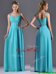Beautiful Empire Aqua Blue Long Prom Dress with Beading and Ruching