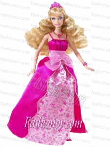 Bowknot Printing and Satin Princess Barbie Doll Dress
