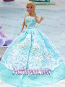 Embroidery Baby Blue For Princess Barbie Doll Dress