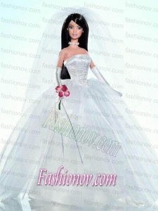 Embroidery Ball Gown Wedding Barbie Doll Dress