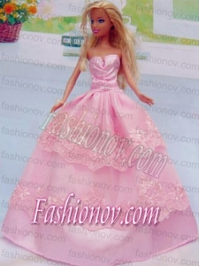 Embroidery Floor-length Rose Pink For Princess Barbie Doll Dress