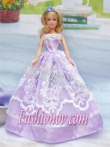 Embroidery Lilac For A-line Barbie Doll Dress