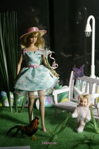 Hand Made Flowers Decorate Princess Party Clothes Gown For Barbie Doll