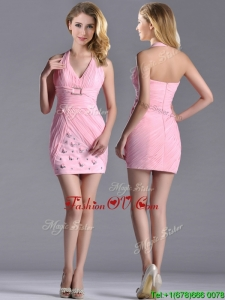 Latest Column Halter Top Prom Dress with Beading and Ruching