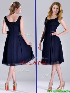 Latest Square Empire Chiffon Navy Blue Prom Dress with Ruching