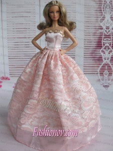 Lovely Baby Pink Applqiues Party Clothes Fashion Dress for Noble Barbie